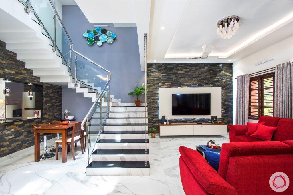 duplex house design-red sofa designs-wooden dining set designs