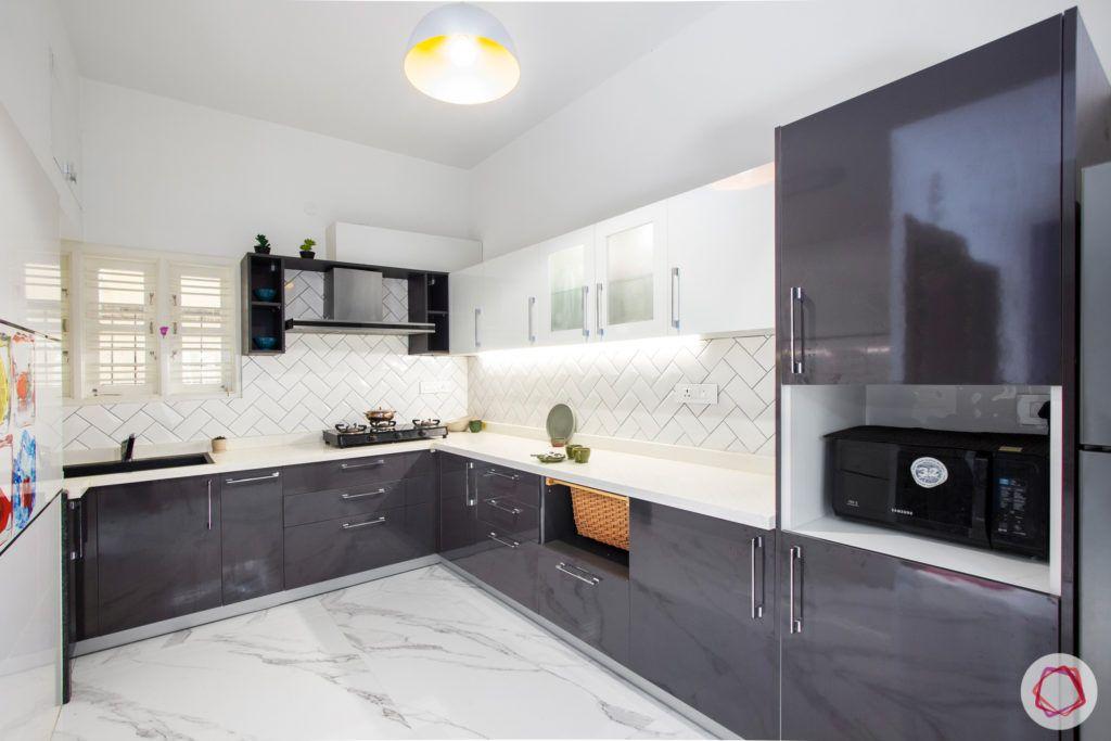duplex house design-open kitchen designs-grey and white kitchen designs
