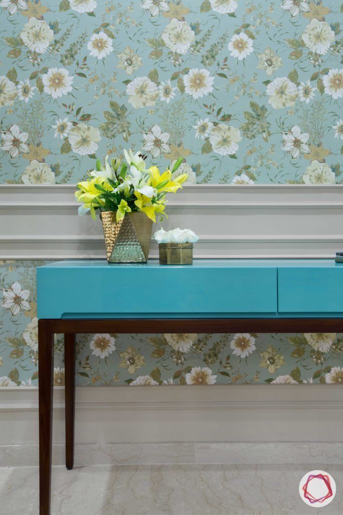 floral print-blue wallpaper designs-blue console designs