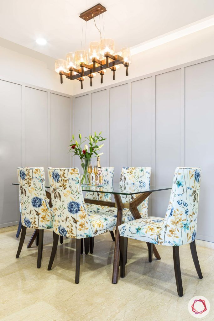 floral print-dining  hair designs-blue floral designs