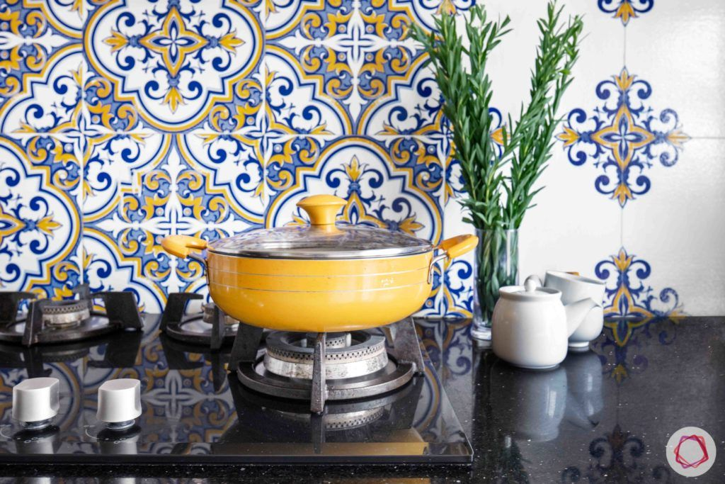 floral print-blue tile designs-backsplash tile designs