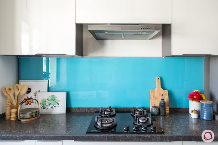 kitchen tiles-blue glass kitchen backsplash-white kitchen cabinet designs