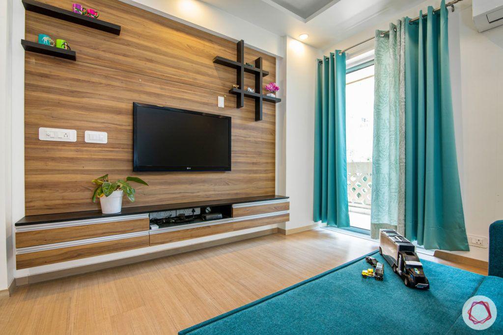 wall shelf design-wall ledges-display ledges-wooden ledges-tv unit-bedroom