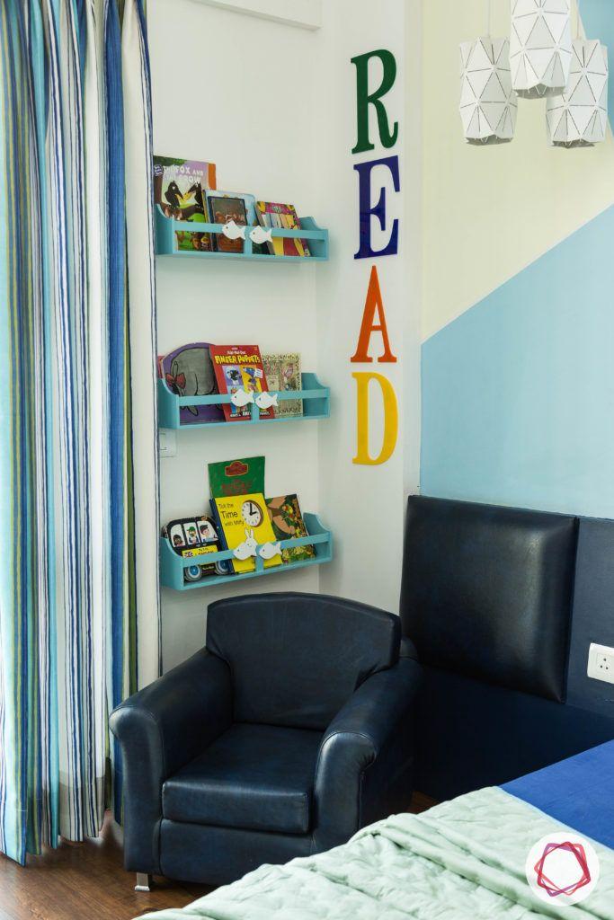 wall shelf design-blue shelf designs-blue reading chair