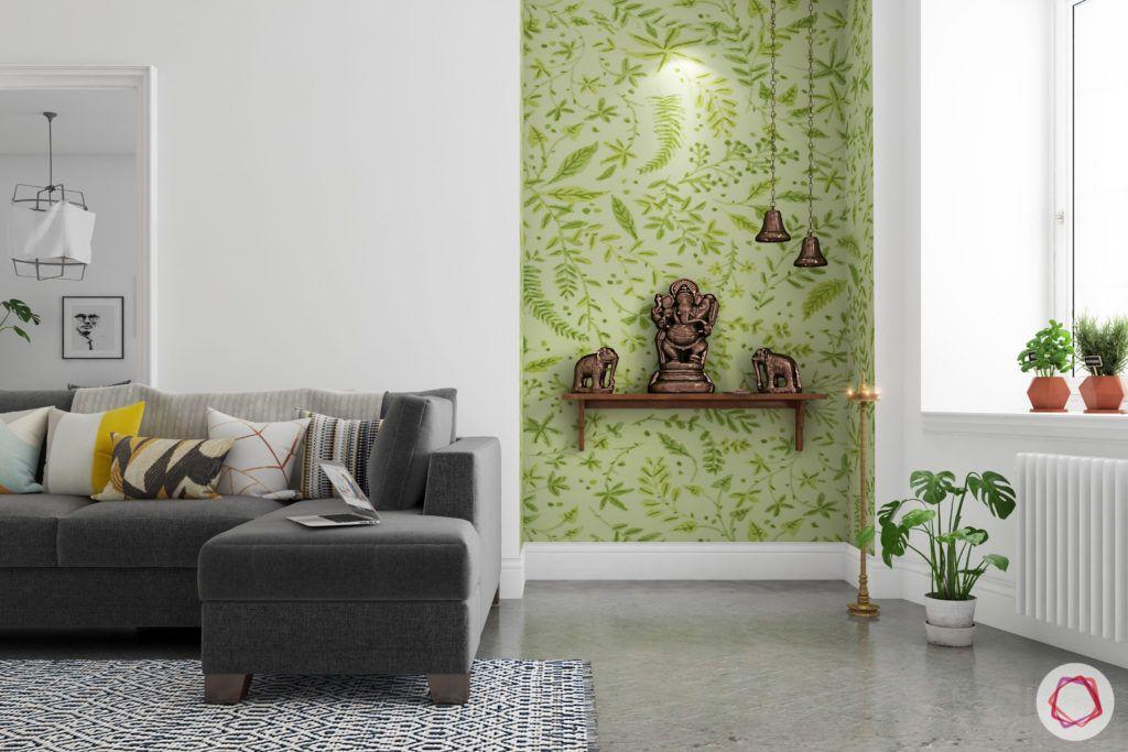 wall shelf designs-green wall-grey sofa