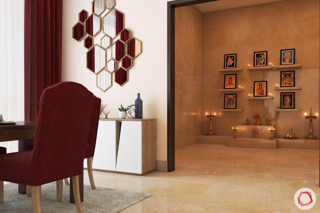 wall shelf designs-hexagonal wall mirror-red chairs