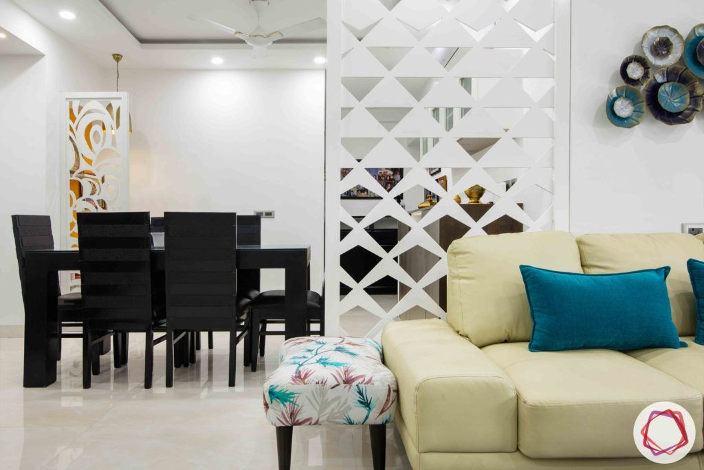 jali design-divider-geometric pattern-living room-white jali