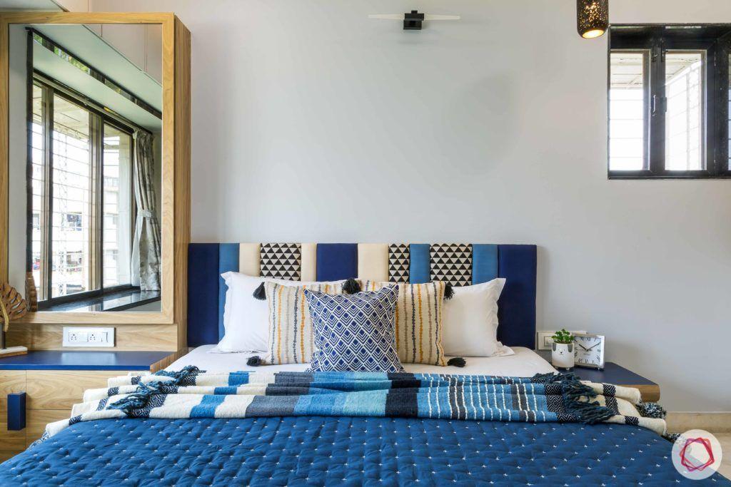 indian bedroom-blue bedroom-refurbished bed
