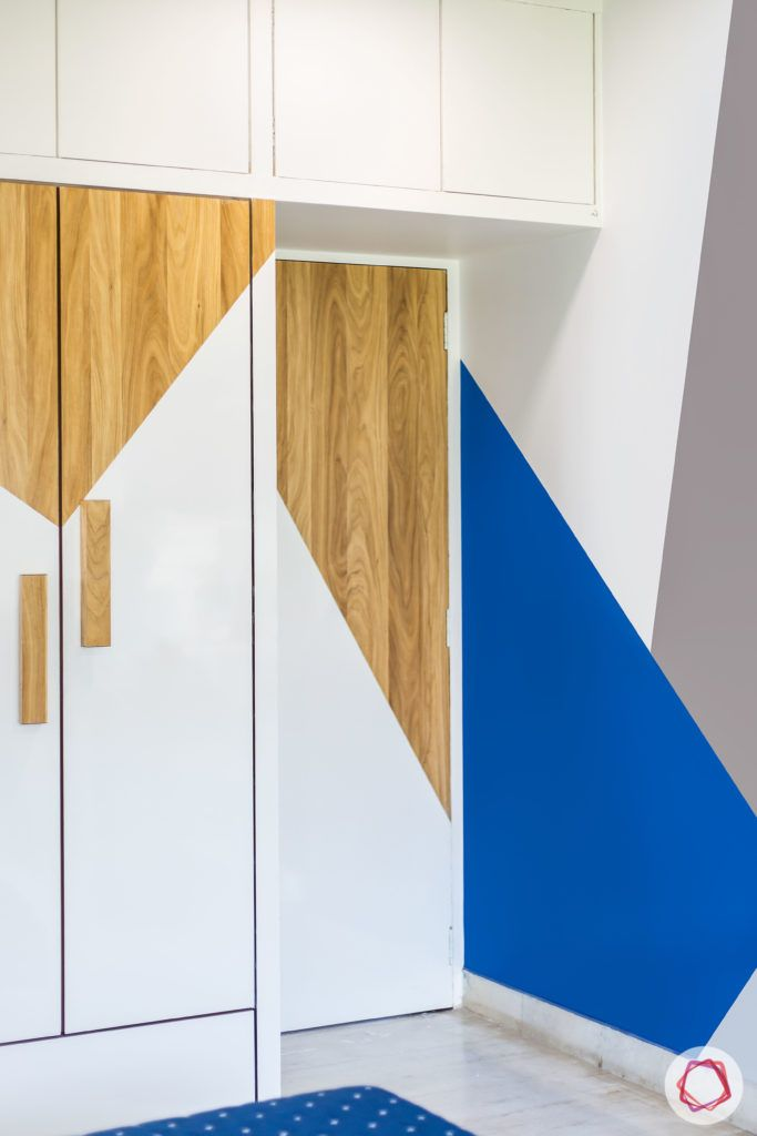 indian bedroom-geometric wardrobes-laminate wardrobes-colour blocked walls