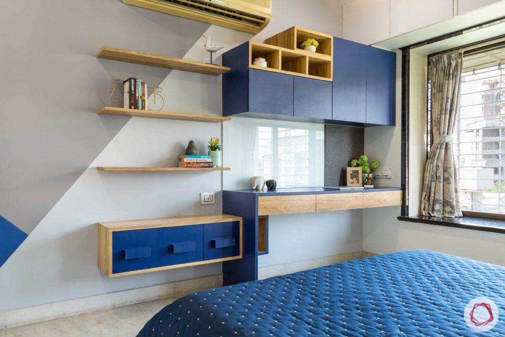 indian bedroom-blue study table-laminate display shelves-cabinets