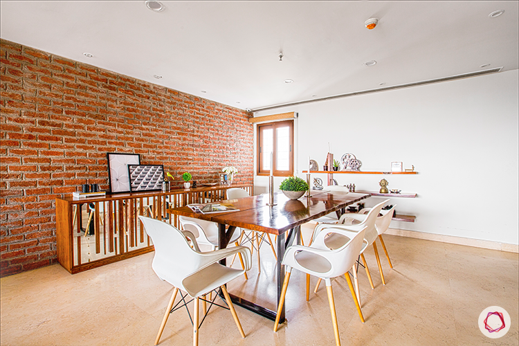 exposed brick wall-wooden table designs