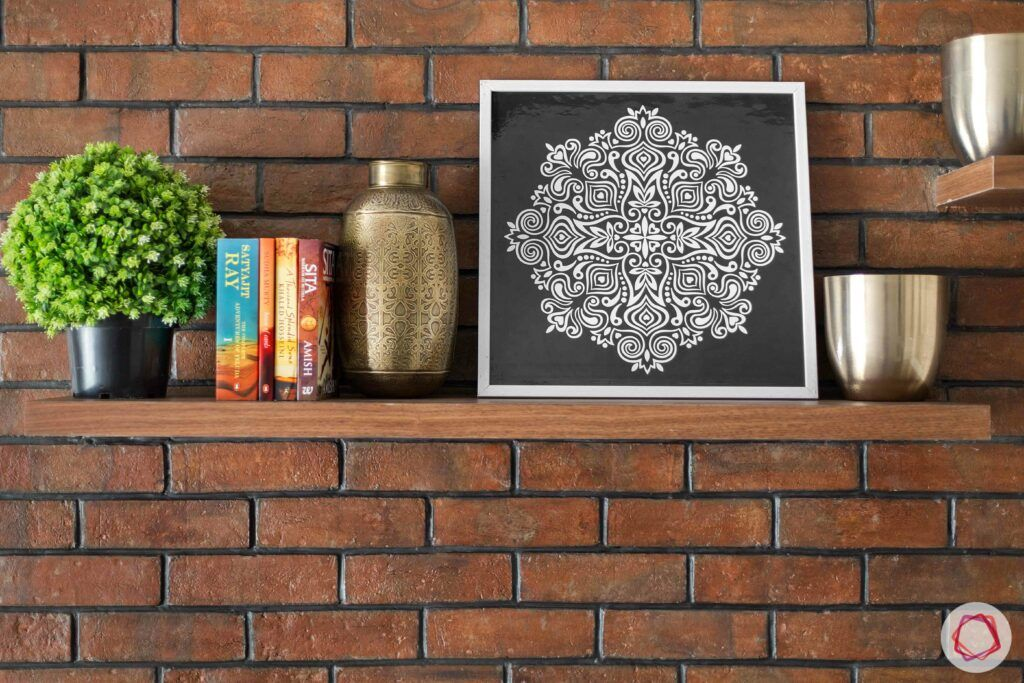 exposed brick wall-wooden shelf designs
