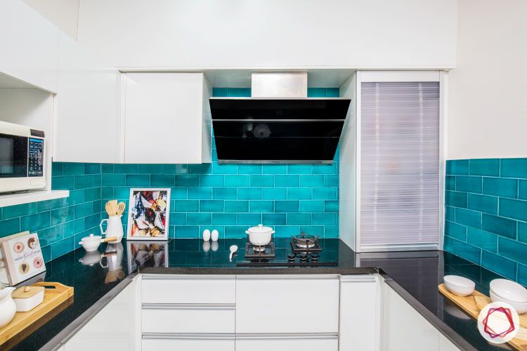 blue backsplash-corner cabinet