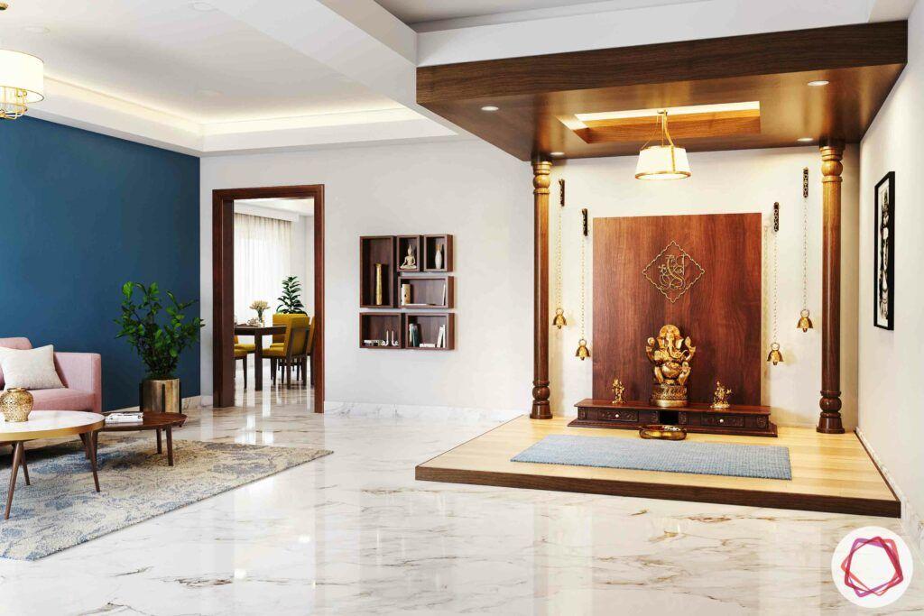 wooden temple-wooden arch-ganesha-doorless pooja room