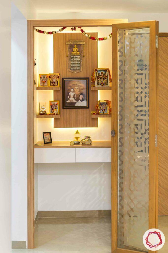 shelves-small pooja room-glass door