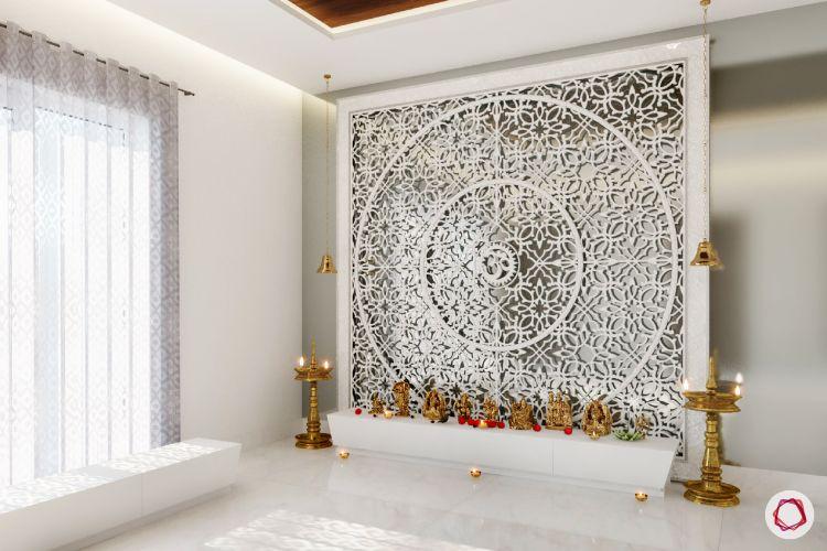 pooja room design-carved wood
