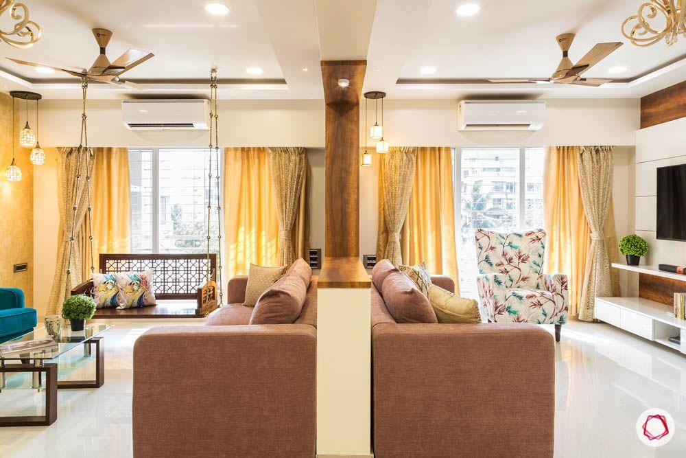 4 bhk flat in mumbai-two living rooms-false ceiling-big living room