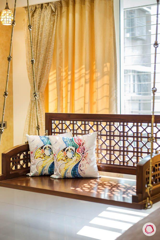 4 bhk flat in mumbai-living room-wooden swing