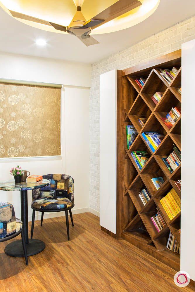 4 bhk flat in mumbai-reading room-bookshelf-wooden flooring
