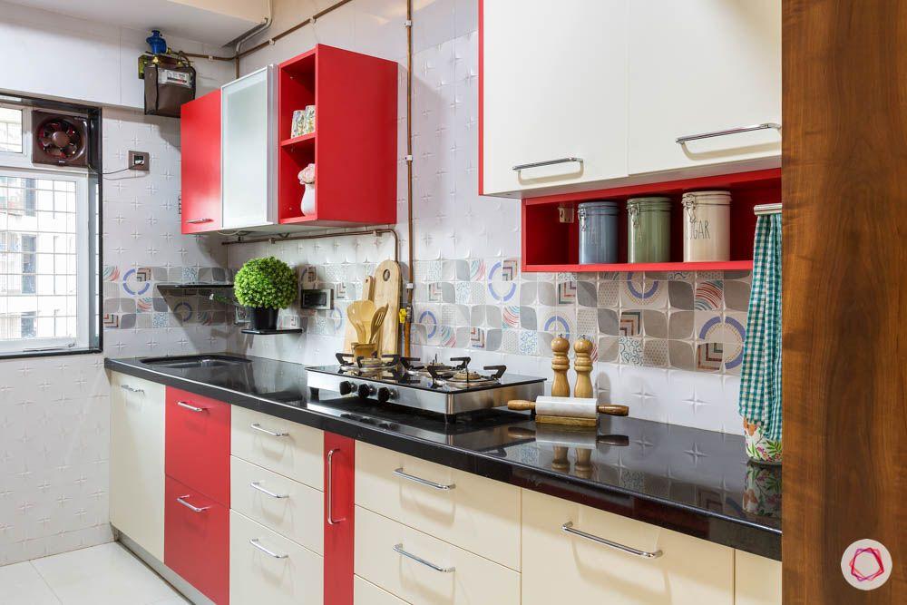 4 bhk flat in mumbai-rubic kitchen-red and cream kitchen