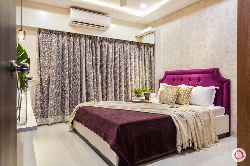 4 bhk flat in mumbai-master bedroom-purple headboard-white bed