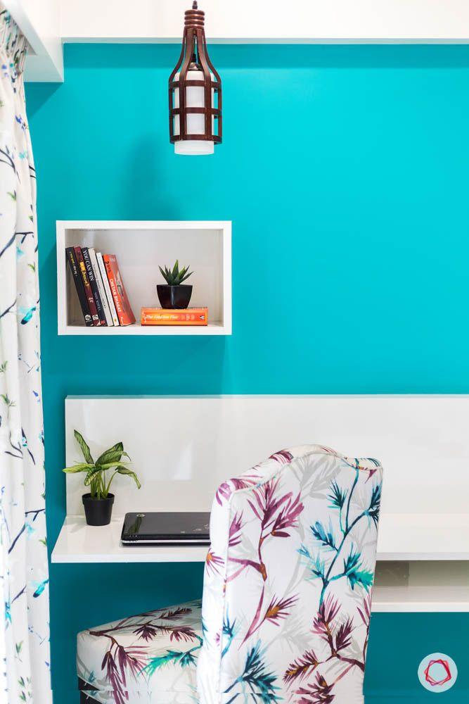 4 bhk flat in mumbai-guest bedroom-study table-display shelf