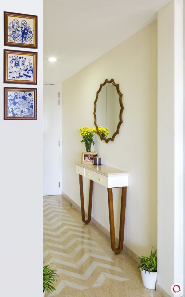 hallway decor ideas-mosaic flooring tiles-white console designs