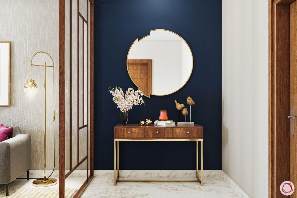foyer-area-design-screen-separators-glass screen-blue wall-accent mirror