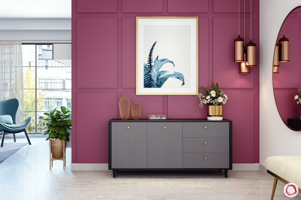 foyer-area-design-accent wall-console table-magenta wall