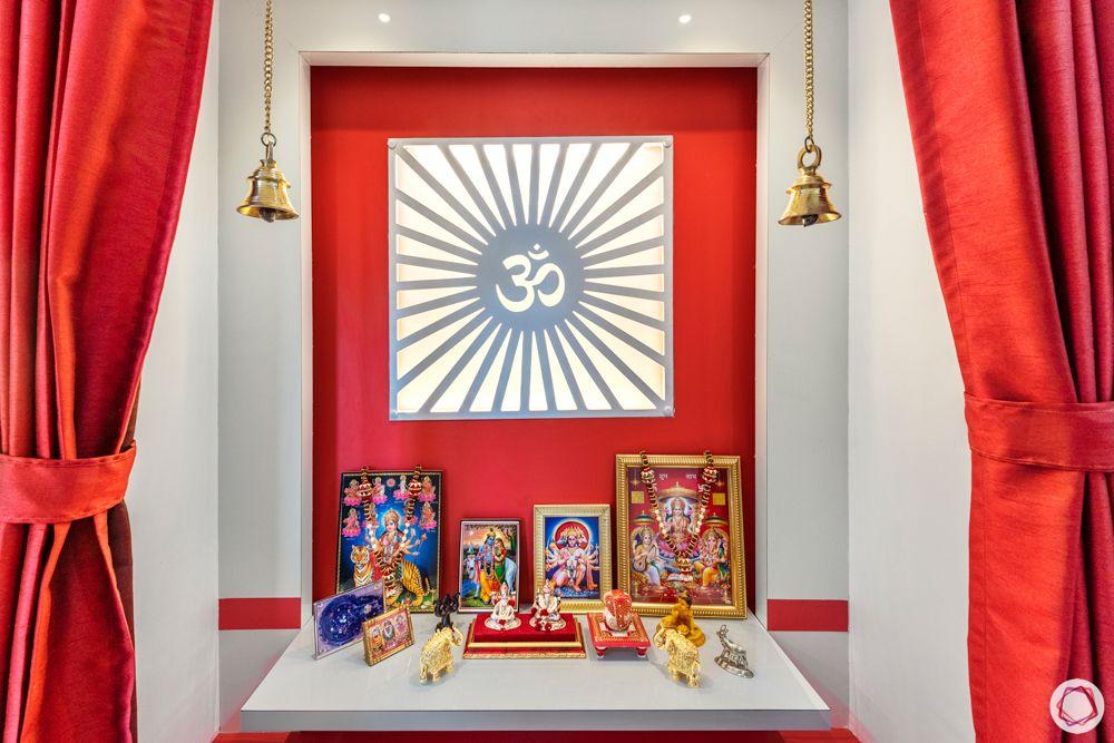 pooja room designs-red pooja corner designs