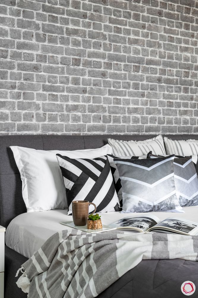 grey bedroom designs-grey exposed wallpaper