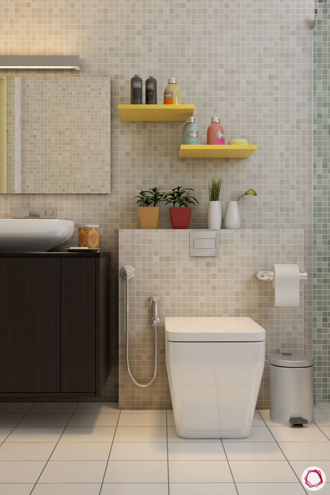bathroom design mistakes-toilet paper roll-health faucet-floating shelves