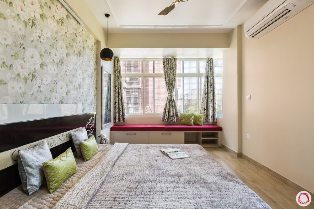 best interior designer in noida-bay window-pastel bedroom decor