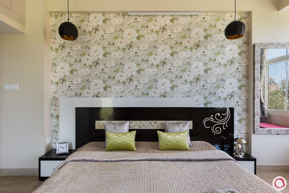best interior designer in noida-floral wallpaper-bedroom decor