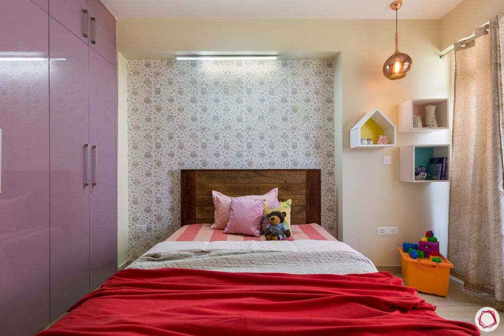 best interior designer in noida-kids bed-wall shelves-owl wallpaper