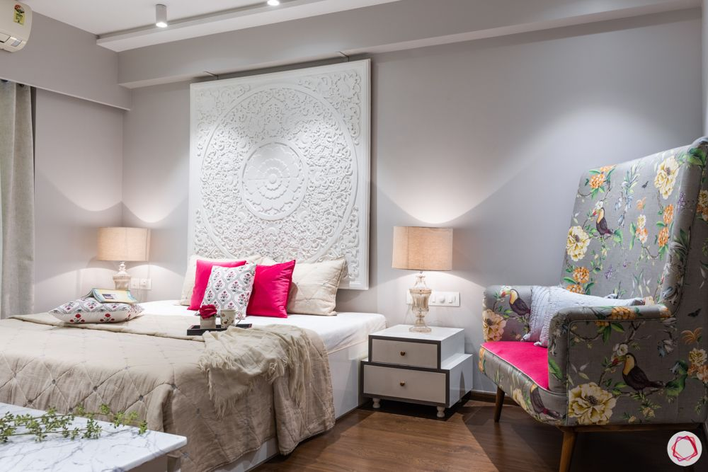 3-bhk-in-mumbai-master-bedroom-armchair-wall-bed-lamp-bedside-table