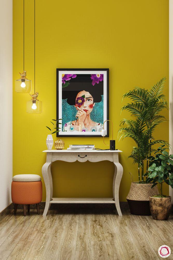 house entrance design_plants_foyer plants_greenery_yellow wall