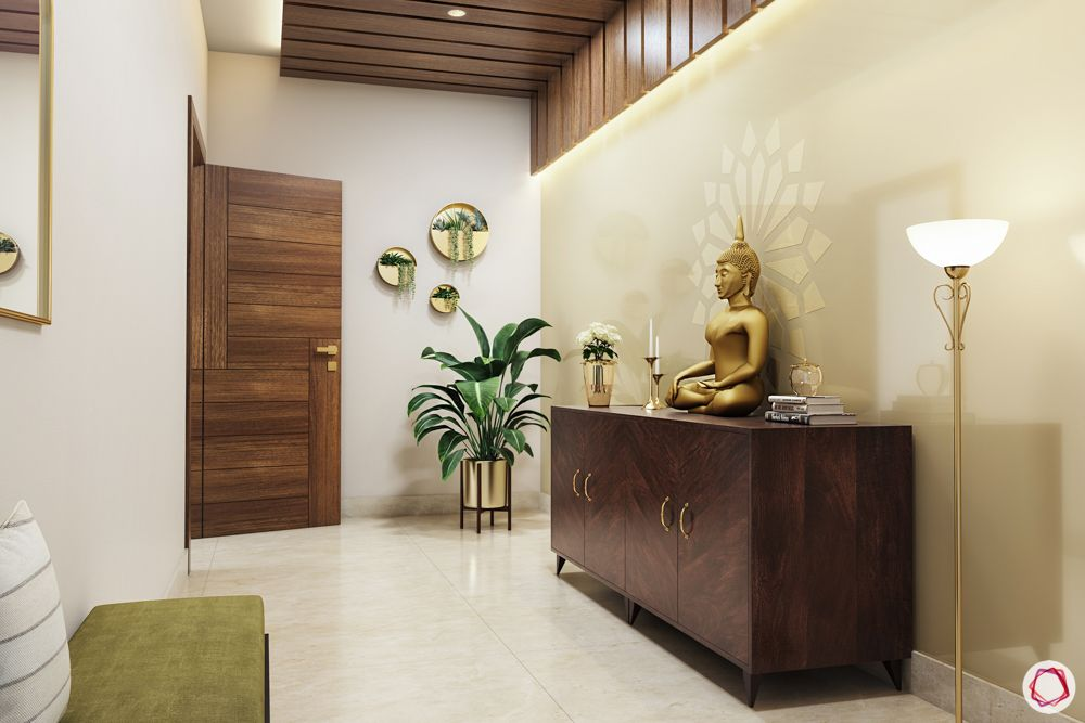 house entrance design_console table_Storage unit_buddha in foyer