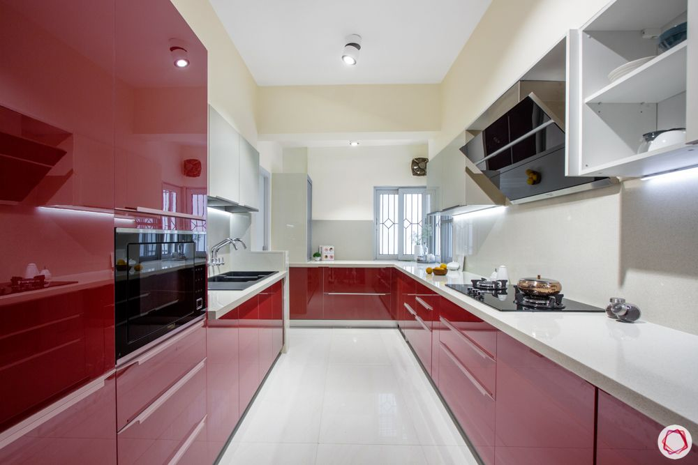 difference between ceramic and vitrified tiles-kitchen flooring-vitrified tiles-red cabinets