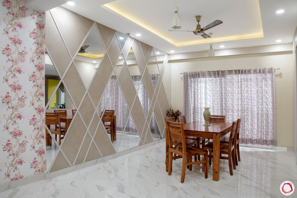 difference between ceramic and vitrified tiles-dining room-vitrified tiles-mirror wall