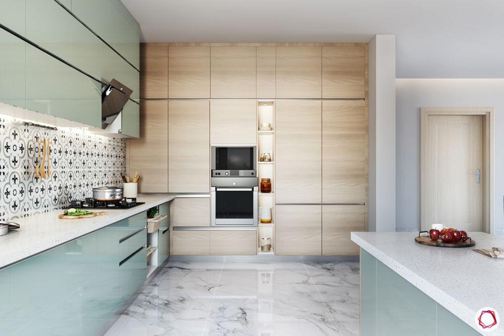 how to make a kitchen look brighter-profile lights-under cabinet lights-patterned backsplash