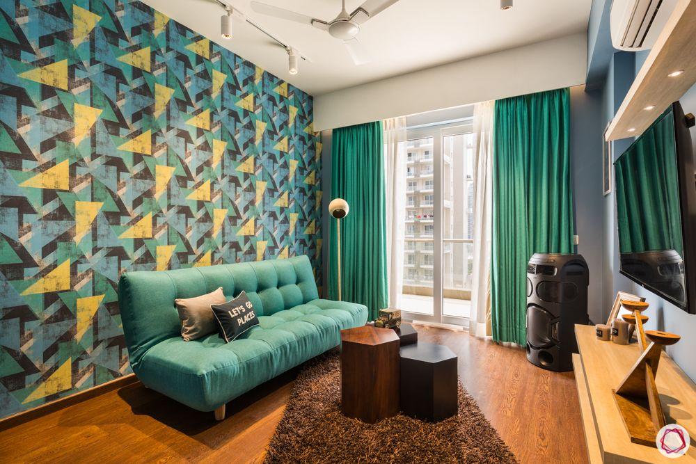 pattern wallpaper-sofa-cum-bed
