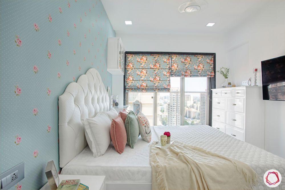 2-bhk-in-mumbai-master bedroom-chest of drawers-white headboard