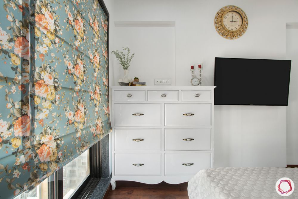 2-bhk-in-mumbai-master bedroom-white chest of drawers
