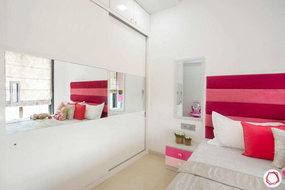 2-bhk-in-mumbai-kids bedroom-sliding wardrobe-dresser unit