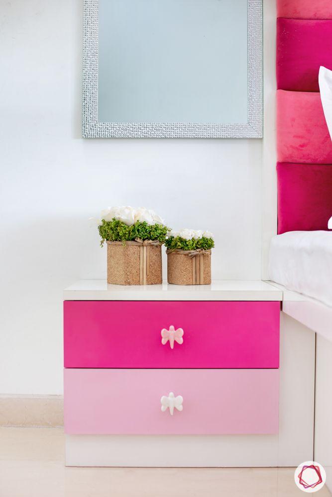 2-bhk-in-mumbai-kids bedroom-pink side table-dressing mirror