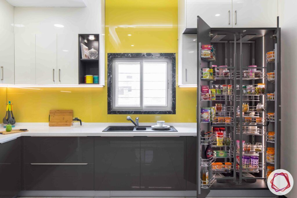 kitchen design style quiz-yellow-white-grey-kitchen-tall-unit-storage