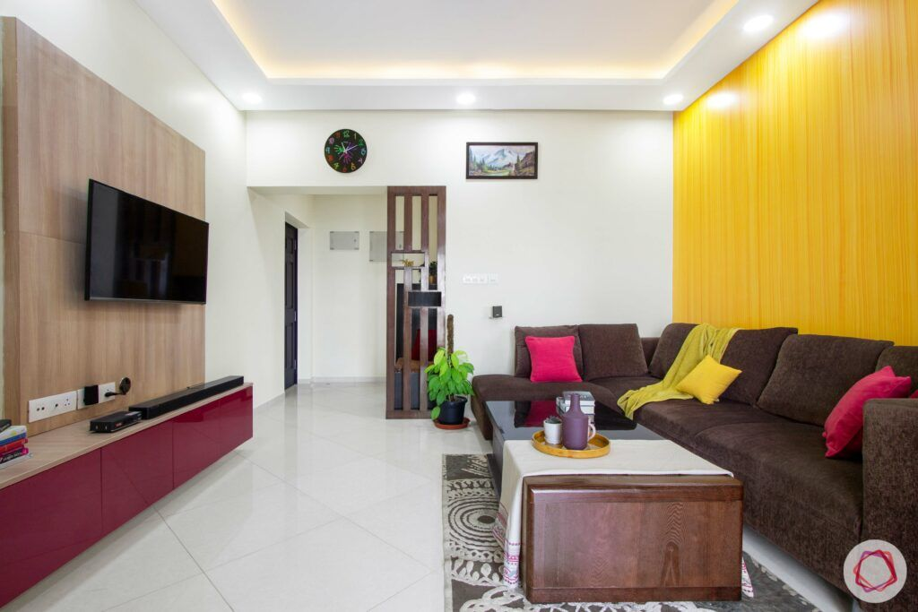 livspace-bangalore-living-room-TV-wall-paint-yellow