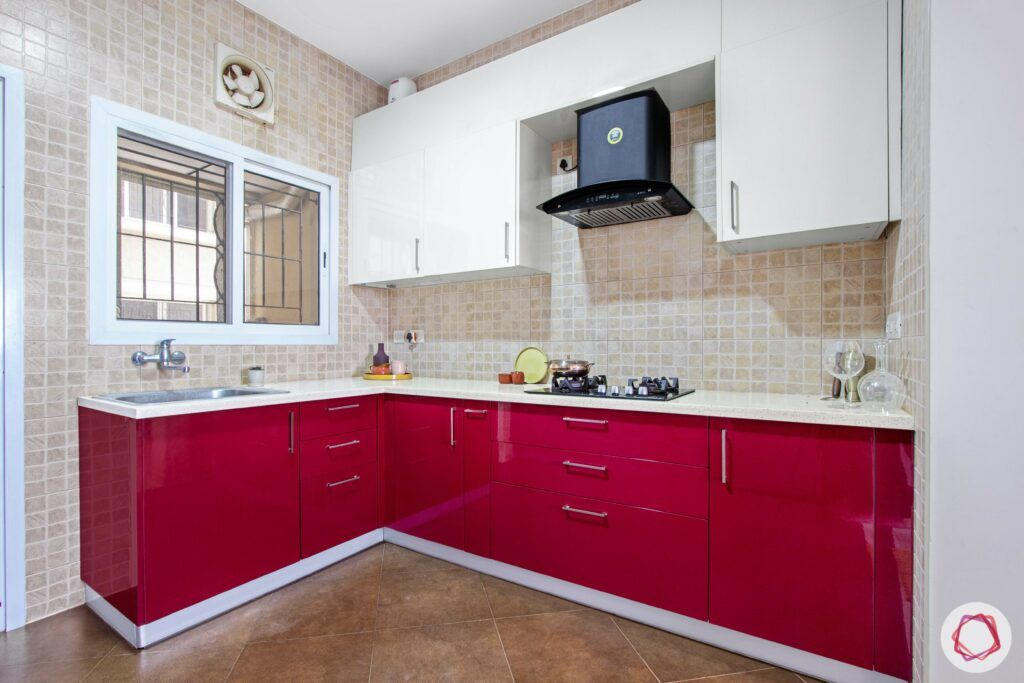 livspace-bangalore-red-white-kitchen-chimney