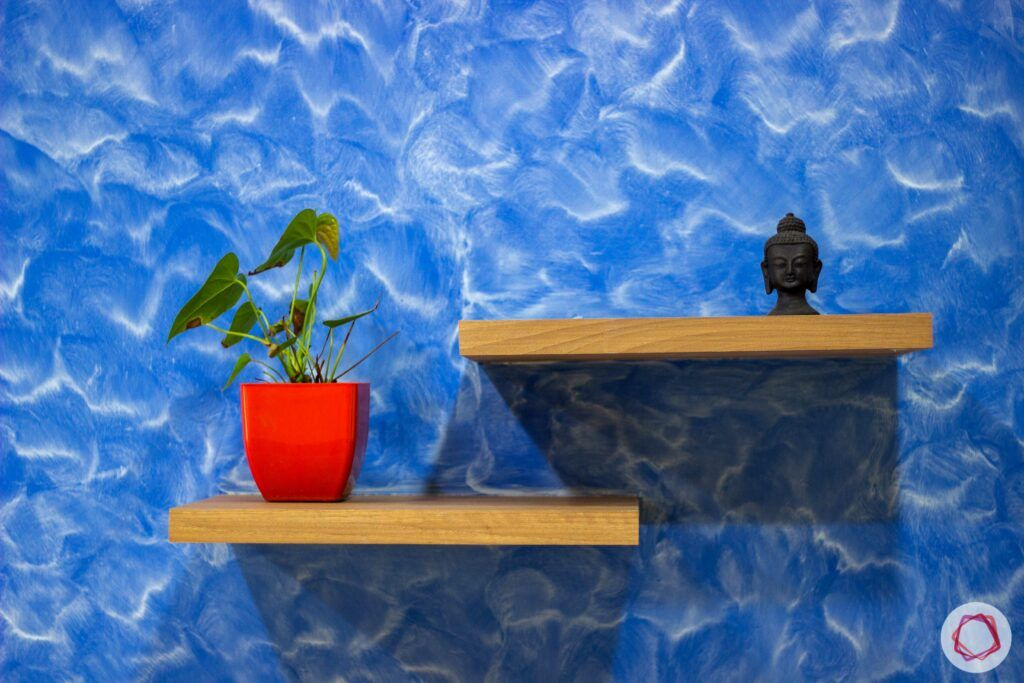 livspace-bangalore-blue-wall-potted-plant